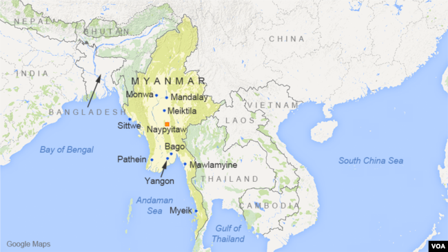 Image result for Myanmar location map