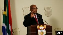 Perezida Jacob Zuma, ashikiriza igihugu ijambo i Pretoria itariki 14/2/2018.