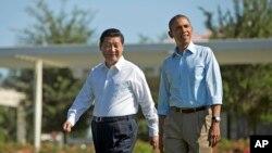 """美國總統奧巴馬和中國國家主席習近平剛剛結束在加州""""陽光之鄉""""的會談"""