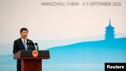 시진핑 중국 국가주석이 5일 항저우에서 열린 G20, 주요 20개국 정상회의 기자회견에서 발언하고 있다.