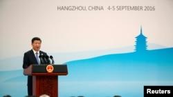 Chủ tịch Trung Quốc Tập Cận Bình phát biểu tại 1 cuộc họp báo sau khi kết thúc Hội nghị Thượng đỉnh G20 ở Hàng Châu, Trung Quốc, ngày 5/9/2016.