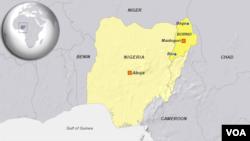 Taswirar Nijeriya mai nuna inda garin Biu ya ke a jihar Borno