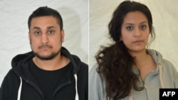 A combination of two undated handout pictures retrieved from the Thames Valley Police website in London on December 29, 2015, shows (L-R) Mohammed Rehman and Sana Ahmed Khan, who were convicted at the Old Bailey on Dec. 29, 2015, of preparing for acts of