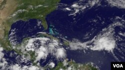 Gambar satelit badai tropis Alex dari NASA.