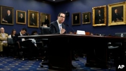 Treasury Secretary Steven Mnuchin testifies at a House Appropriations subcommittee hearing on the budget on Capitol Hill, June 12, 2017.