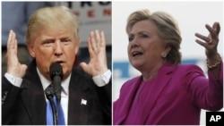 Ứng viên Tổng thống đảng Cộng Hòa Donald Trump (trái) và đối thủ bên phía đảng Dân Chủ Hillary Clinton.