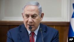 Israeli Prime Minister Benjamin Netanyahu attends a cabinet meeting in Jerusalem, Jan. 28, 2018.