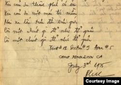 """Lời bài hát """"Còn chút gì để nhớ"""" của Phạm Duy được tác giả chép lại trong ngày 3/7/1975 khi sống trong trại (ảnh Bùi Văn Phú)"""