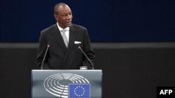 Le président guinéen Alpha Condé au Parlement européen, le 29 mai 2018, Strasbourg, France.