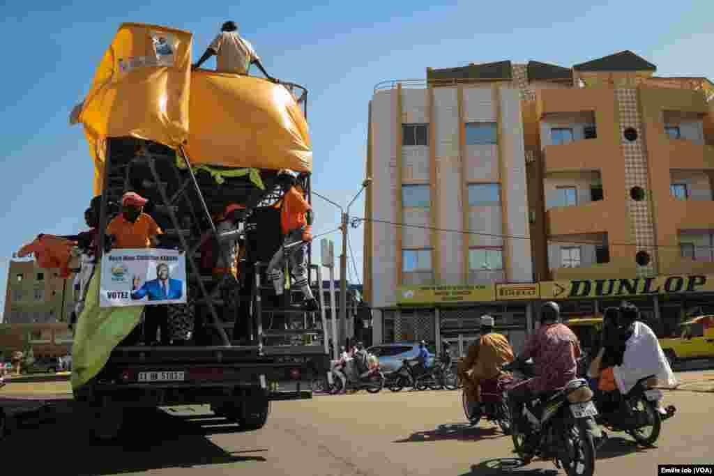 Supporters of presidential candidate Roch Marc Christian Kaboré parade in Burkina Faso's capital, Ouagadougou.