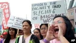 Tư liệu - Người lao động nước ngoài ở Đài Loan tụ tập nhân Ngày Quốc tế Lao động ở Đài Bắc, Đài Loan, ngày 1 tháng 5, 2016.
