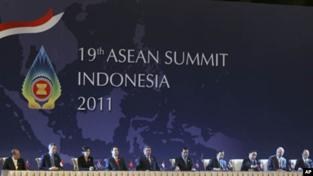 The leaders of the Association of South East Asian Nations attend the regional bloc's summit in Bali, November 17, 2011.