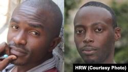 Deux activistes congolais arrêtés lors d'un atelier de la jeunesse pro-démocratie à Kinshasa, capitale de la République démocratique du Congo, le 15 mars 2015. Un an plus tard, ils sont toujours en détention. Fred Bauma, jeune activiste (à gauche) et Yves