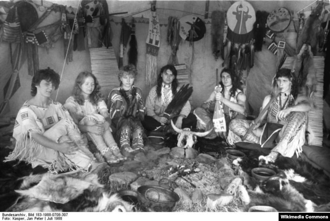 A group of citizens of former Czechoslovakia portraying Native Americans at an Indianistik meeting in 1988 Indian hobbyism--the desire to dress or live like traditional Native Americans--has always been popular in Eastern Europe