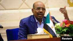 FILE - Sudan's President Omar Hassan al-Bashir speaks during a press conference at the palace in Khartoum, Sudan, March 2, 2017.