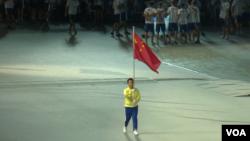 中国运动员缺席2017年8月19日台北世大运开幕式(美国之音黎堡摄)