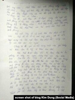 trang 4 bản tường trình của nữ nhân chứng về vụ bắt ông Lê Duy Phong