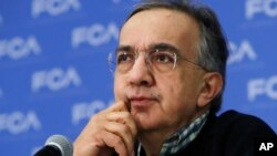 FILE - In this photo dated, Jan. 9, 2017, then-Fiat Chrysler CEO Sergio Marchionne attends a briefing at the North American International Auto show, in Detroit.