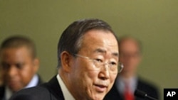 Secretary-General Ban Ki-moon gives an update on conditions in Haiti following the disastrous earthquake that struck its capital city, Port-au-Prince, 14 Jan 2010