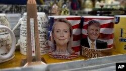 فروش لیوان هایی با تصویری از نامزدهای انتخابات ریاست جمهوری آمریکا