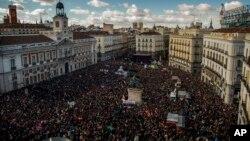 2015年1月31日马德里主要广场游行