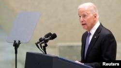 U.S. Vice President Joe Biden speaks during a meeting in Paul VI Hall at the Vatican, April 29, 2016.