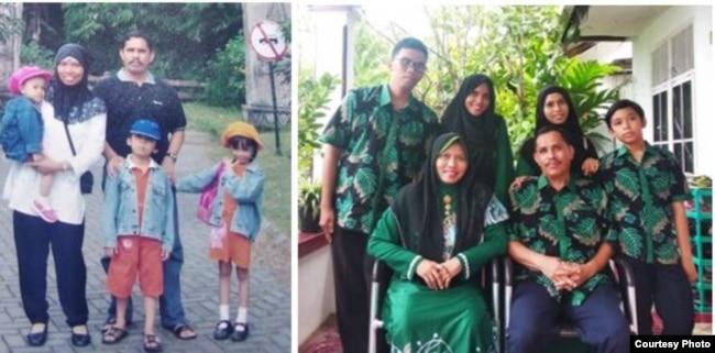 Dr.Ir.Dzarnisa Araby dan keluarga: saat mengungsi ke Bogor pasca gempa dan tsunami, 26 Desember 2004 (kiri), dan di rumah kediaman mereka di Banda Aceh, 26 Desember 2019.(Foto courtesy: pribadi)