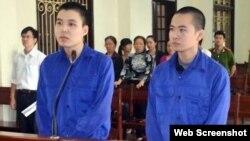 Hai thanh niên Nguyễn Đức Hảo, 21 tuổi, và Hoàng Anh Thư, 23 tuổi, trước tòa án nhân dân thành phố Hải Phòng (Ảnh chụp từ trang tinhaiphong)