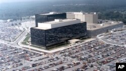 Kantor Badan Keamanan Nasional AS (NSA) di Fort Meade, Maryland,AS. Pemerintah Obama mempertahankan kebijkan NSA untuk mengumpulkan catatan telepon warga AS sebagai salah satu langkah penting melindungi negara dari ancaman teroris.