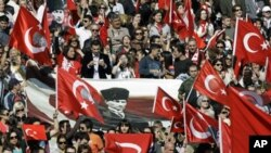 Turks rally at the mausoleum of secular Turkey's founder Kemal Ataturk in Ankara (file photo)