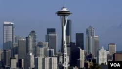 The Space Needle tower dominates the Seattle skyline and has become the city's symbol. (Carol M. Highsmith)