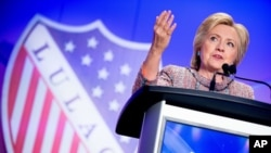 Democratic presidential candidate Hillary Clinton speaks at the 87th League of United Latin American Citizens National Convention at the Washington Hilton in Washington, July 14, 2016.