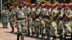 The commander of regional African force Jean-Felix Akaga reviews troops, on January 2, 2013 in Bangui.