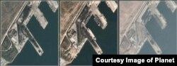 북한 동해안 라진항의 지난해 10월 10일 위성사진(왼쪽부터)과 올해 10월 4일, 12월 6일 위성사진. (제공=Planet)