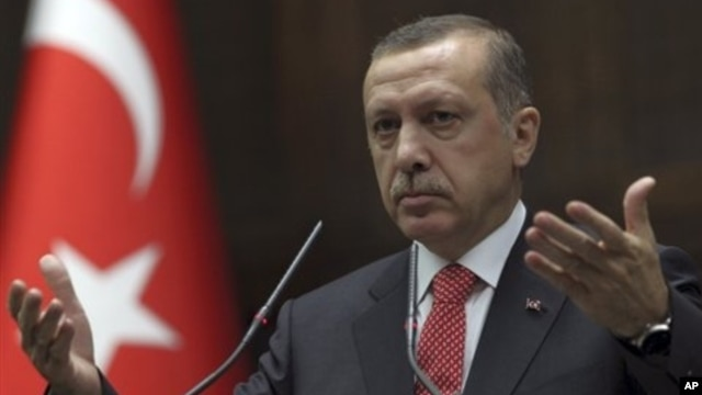 Turkish Prime Minister Recep Tayyip Erdogan addressing lawmakers at parliament, Ankara, June 26, 2012.