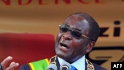 President Robert Mugabe addresses the nation as Zimbabwe celebrates 30 years of independence from Britain, in Harare, 18 Apr 2010