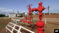Một giếng dầu tại cơ sở chế biến dầu Heglig ở Sudan, 2/6/2010