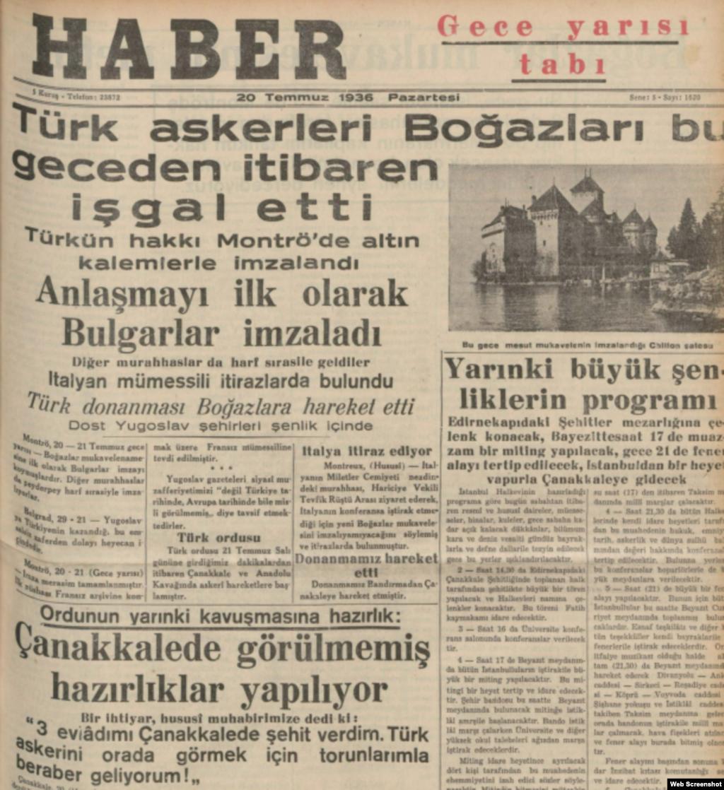 Montrö Sözleşmesi'nin imzalanmasıyla ilgili gazete başlıkları