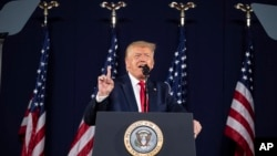 美國總統特朗普週五(7月3日)在拉什莫爾山發表演講。