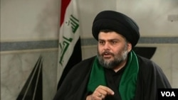 什叶派教士萨德尔在自由电视台上讲话