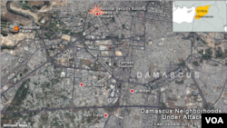 Map of Damascus neighborhood violence, Rawda Square
