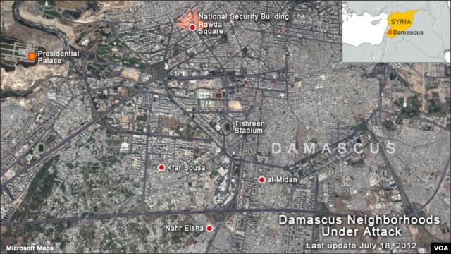 Map of Damascus neighborhood violence, Rawda Square