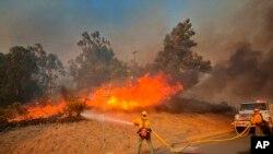 Petugas pemadam kebakaran berupaya memadamkan api di pinggir jalan Calle Real dekat Refugio Rd., Goleta, California, Selasa, 12 Oktober 2021. (Mike Eliason/Departemen Pemadam Kebakaran Santa Barbara via AP)