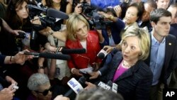 Democratic presidential candidate Hillary Rodham Clinton speaks to reporters May 22, 2015, in Hampton, N.H. (AP Photo/Jim Cole)