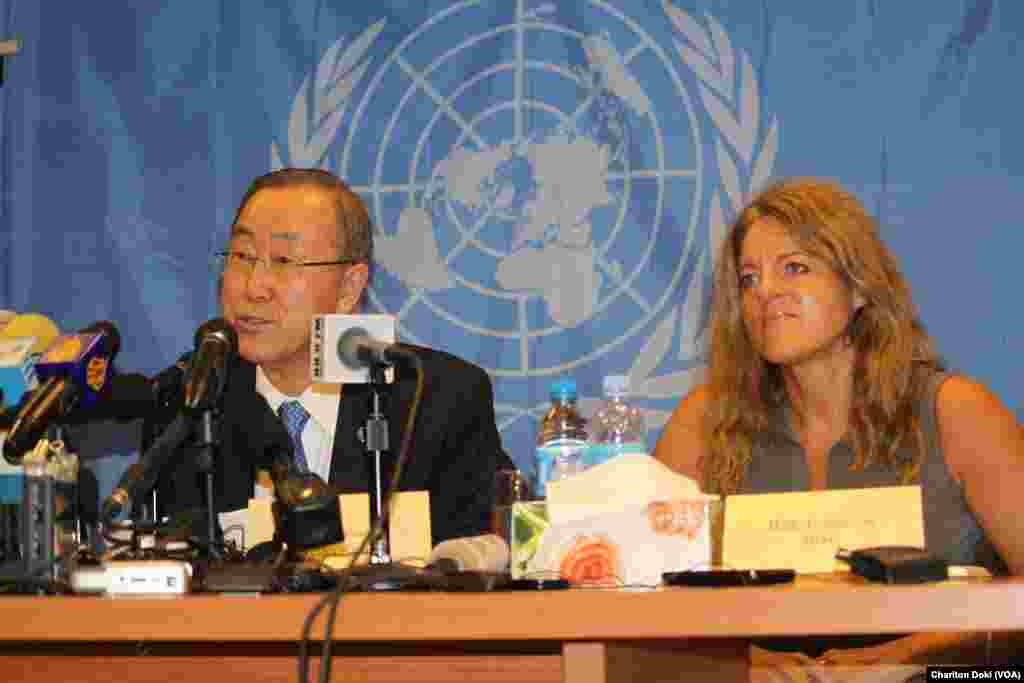 United Nations Secretary General Ban Ki-moon and the head of the UN Mission in South Sudan (UNMISS), Hilde Johnson, address a news conference during a visit by Ban to South Sudan on May 6, 2014.