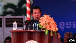 FILE - Cambodian Prime Minister Hun Sen participates in the 66th anniversary celebration of the Cambodian People's Party (CPP) in Phnom Penh, June 28, 2017. (Hean Socheata/ VOA Khmer)