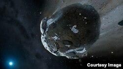Ilustración de un asteroide rico en agua como los que suelen acercarse a la Tierra de vez en cuando sin ser detectados.