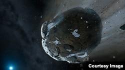 Ilustrasi asteroid berbatu yang kaya air dipecah gravitas kuat.