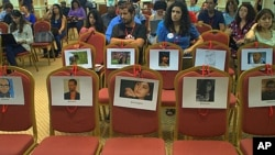 Seats reserved for Palestinian bloggers are seen empty at the 3rd Arab Bloggers Meeting in Tunis, Tunisia, October 05, 2011.