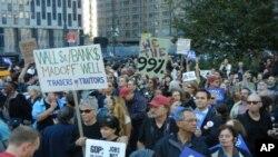 抗议者10月5日在纽约金融区示威